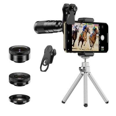 Kit d'objectifs pour Smartphone : objectif Macro, Objectif Grand Angle, Objectif Fisheye avec trépied Compatibilité Universelle