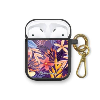 Housse pour airpods silicone liquide noir Fleurs violettes et oranges Motif Ecriture Tendance La Coque Francaise