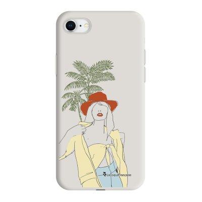 Coque iPhone 7/8/SE 2020 Silicone Liquide Douce beige Sous les Palmiers La Coque Francaise.
