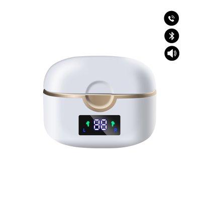 Écouteurs sans fil Bluetooth V5.0 réduction de bruit et  affichage HD LED Blanc
