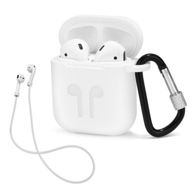 Housse silicone de protection pour AirPods Blanche