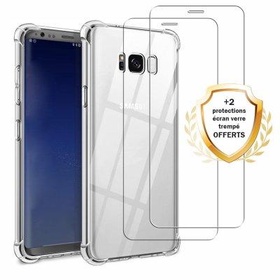 Coque Samsung Galaxy S8 Antichocs Silicone + 2 Vitres en Verre Trempé Protection écran