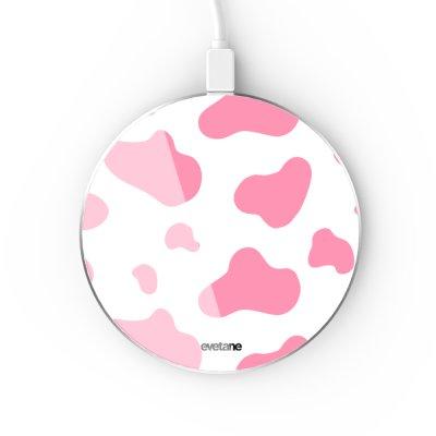 Chargeur Induction contour argent blanc Cow print pink Evetane
