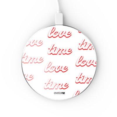 Chargeur Induction contour argent blanc Love Time Evetane