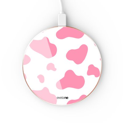 Chargeur Induction contour gold Cow print pink Evetane
