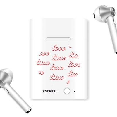 Ecouteurs Sans Fil Bluetooth Argent argent Love Time Ecriture Tendance et Design Evetane.