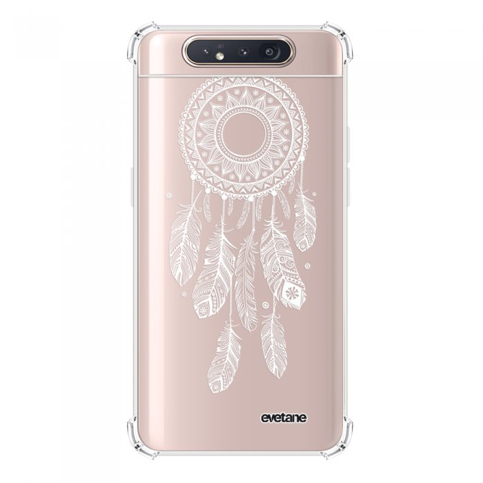 Coque Samsung Galaxy A80 anti-choc souple angles renforcés transparente Attrape reve blanc Evetane.