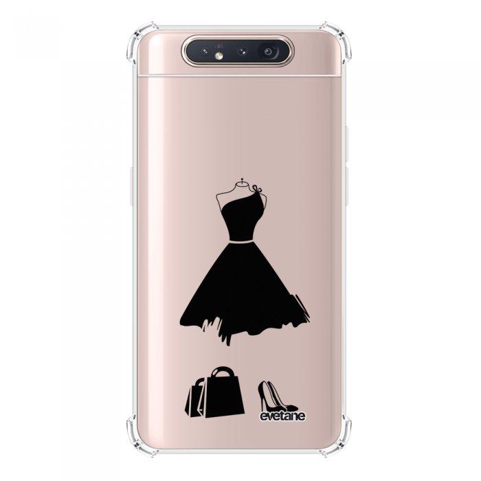 Coque Samsung Galaxy A80 anti-choc souple angles renforcés transparente My little black dress Evetane.