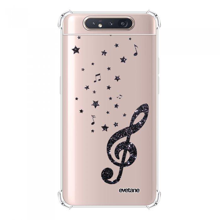 Coque Samsung Galaxy A80 anti-choc souple angles renforcés transparente Note de Musique Evetane.