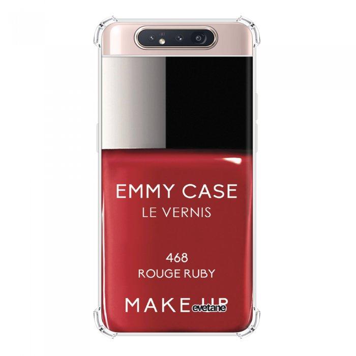 Coque Samsung Galaxy A80 anti-choc souple angles renforcés transparente Vernis Rouge Evetane.