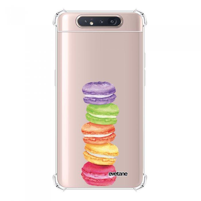 Coque Samsung Galaxy A80 anti-choc souple angles renforcés transparente Macarons Evetane.