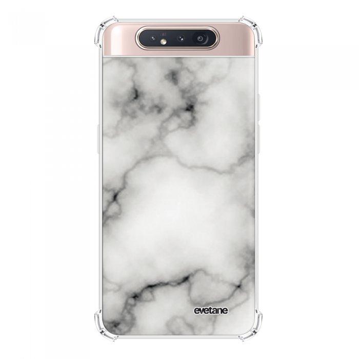 Coque Samsung Galaxy A80 anti-choc souple angles renforcés transparente Marbre blanc Evetane.