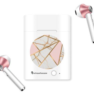 Ecouteurs Sans Fil Bluetooth Rose Gold rose gold Marbre Rose Ecriture Tendance et Design La Coque Francaise.