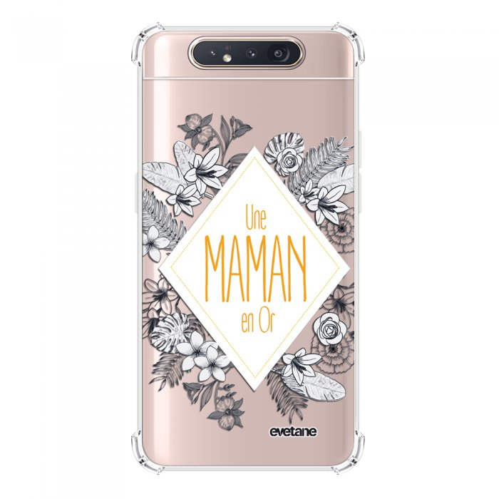 Coque Samsung Galaxy A80 anti-choc souple angles renforcés transparente Une Maman en or Evetane.