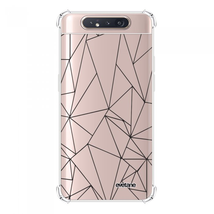 Coque Samsung Galaxy A80 anti-choc souple angles renforcés transparente Outline Noires Evetane.