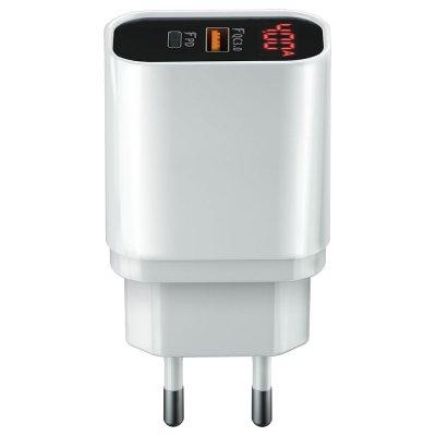 Chargeur secteur ultra-rapide rapide avec afficheur LCD intégré 20W Double Port Type C+1 Port USB
