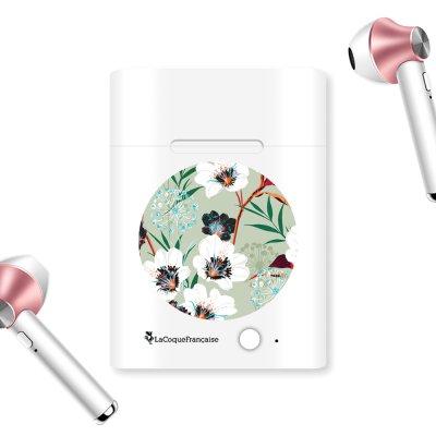 Ecouteurs Sans Fil Bluetooth Rose Gold rose gold Fleurs vert d'eau Ecriture Tendance et Design La Coque Francaise.
