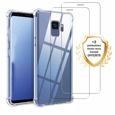 Coque Samsung Galaxy S9 Antichocs Silicone + 2 Vitres en Verre Trempé Protection écran