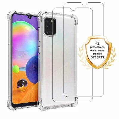 Coque Samsung Galaxy A31 Antichocs Silicone + 2 Vitres en Verre Trempé Protection écran
