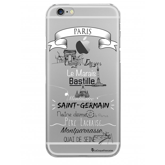 coque rigide transparent quartiers de paris iphone 6 6s