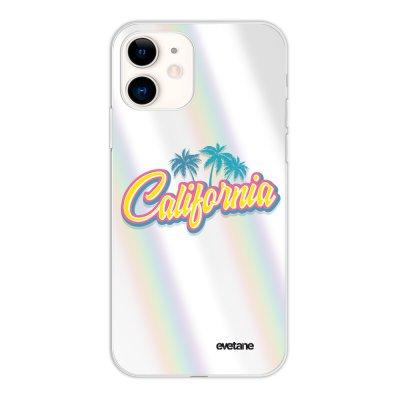 Coque iPhone 11 silicone fond holographique California Design Evetane