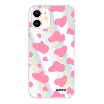 Coque iPhone 11 silicone fond holographique Cow print pink Design Evetane