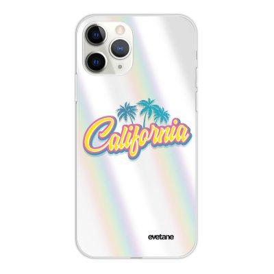 Coque iPhone 11 Pro silicone fond holographique California Design Evetane
