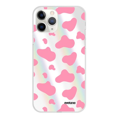 Coque iPhone 11 Pro silicone fond holographique Cow print pink Design Evetane