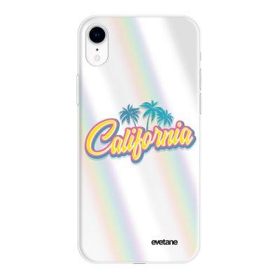 Coque iPhone Xr silicone fond holographique California Design Evetane