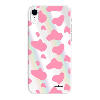 Coque iPhone Xr silicone fond holographique Cow print pink Design Evetane