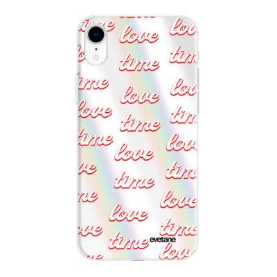 Coque iPhone Xr silicone fond holographique Love Time Design Evetane