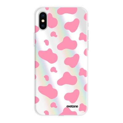 Coque iPhone X/Xs silicone fond holographique Cow print pink Design Evetane