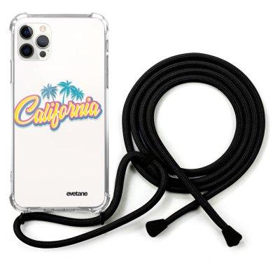 Coque cordon iPhone 12/12 Pro Dessin California Evetane