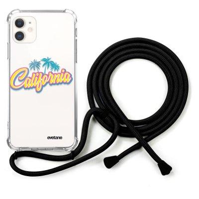 Coque cordon iPhone 12 Mini Dessin California Evetane
