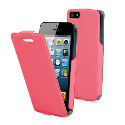 Etui clapet iflip rose Muvit pour iPhone 5 film protecteur inclus