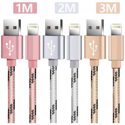 Lot 3 câbles Lightning 1 m-2m-3m rose & argent