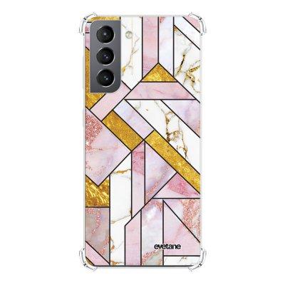 Coque Samsung Galaxy S21 5G anti-choc souple angles renforcés transparente Rose Doré Marbre Graphique Evetane.