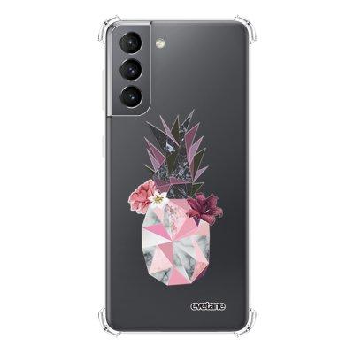 Coque Samsung Galaxy S21 5G anti-choc souple angles renforcés transparente Ananas Fleuri Evetane.
