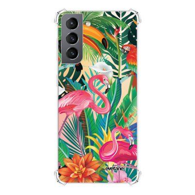 Coque Samsung Galaxy S21 5G anti-choc souple angles renforcés transparente Animaux Tropicaux Evetane.