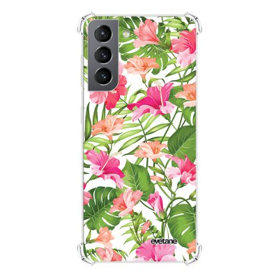 Coque Samsung Galaxy S21 5G anti-choc souple angles renforcés transparente Fleurs Tropicales Evetane.