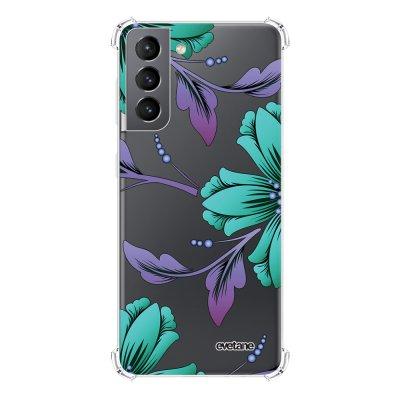 Coque Samsung Galaxy S21 5G anti-choc souple angles renforcés transparente Lys Bleues et violettes Evetane.