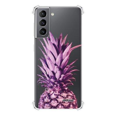 Coque Samsung Galaxy S21 5G anti-choc souple angles renforcés transparente Ananas Dégradé Violet Evetane.