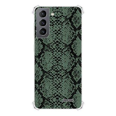 Coque Samsung Galaxy S21 5G anti-choc souple angles renforcés transparente Python vert Evetane.