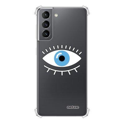 Coque Samsung Galaxy S21 5G anti-choc souple angles renforcés transparente Oeil Bleu Evetane.