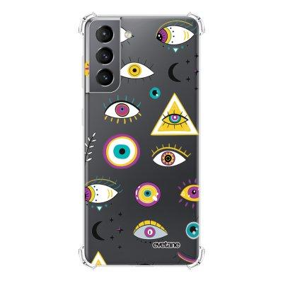Coque Samsung Galaxy S21 5G anti-choc souple angles renforcés transparente Multi Yeux Evetane.