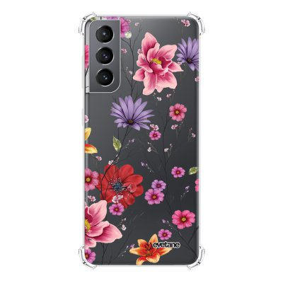 Coque Samsung Galaxy S21 5G anti-choc souple angles renforcés transparente Fleurs Multicolores Evetane.