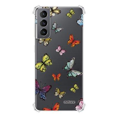Coque Samsung Galaxy S21 5G anti-choc souple angles renforcés transparente Papillons Multicolors Evetane.