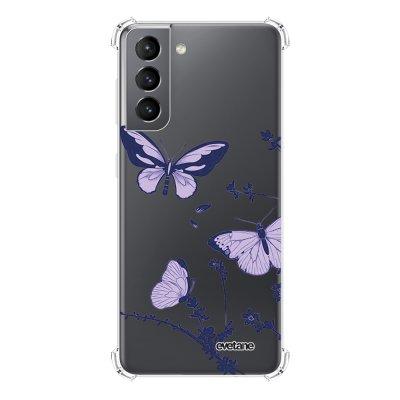 Coque Samsung Galaxy S21 5G anti-choc souple angles renforcés transparente Papillons Violets Evetane.