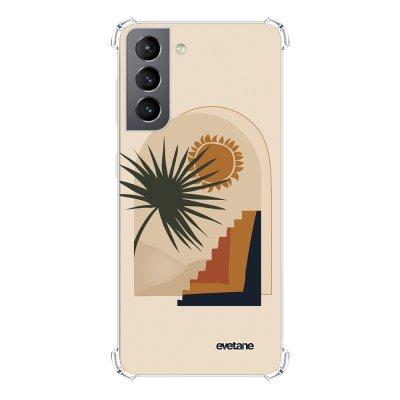 Coque Samsung Galaxy S21 5G anti-choc souple angles renforcés transparente Palmier et Soleil beige Evetane.