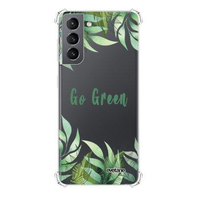 Coque Samsung Galaxy S21 5G anti-choc souple angles renforcés transparente Go green Evetane.